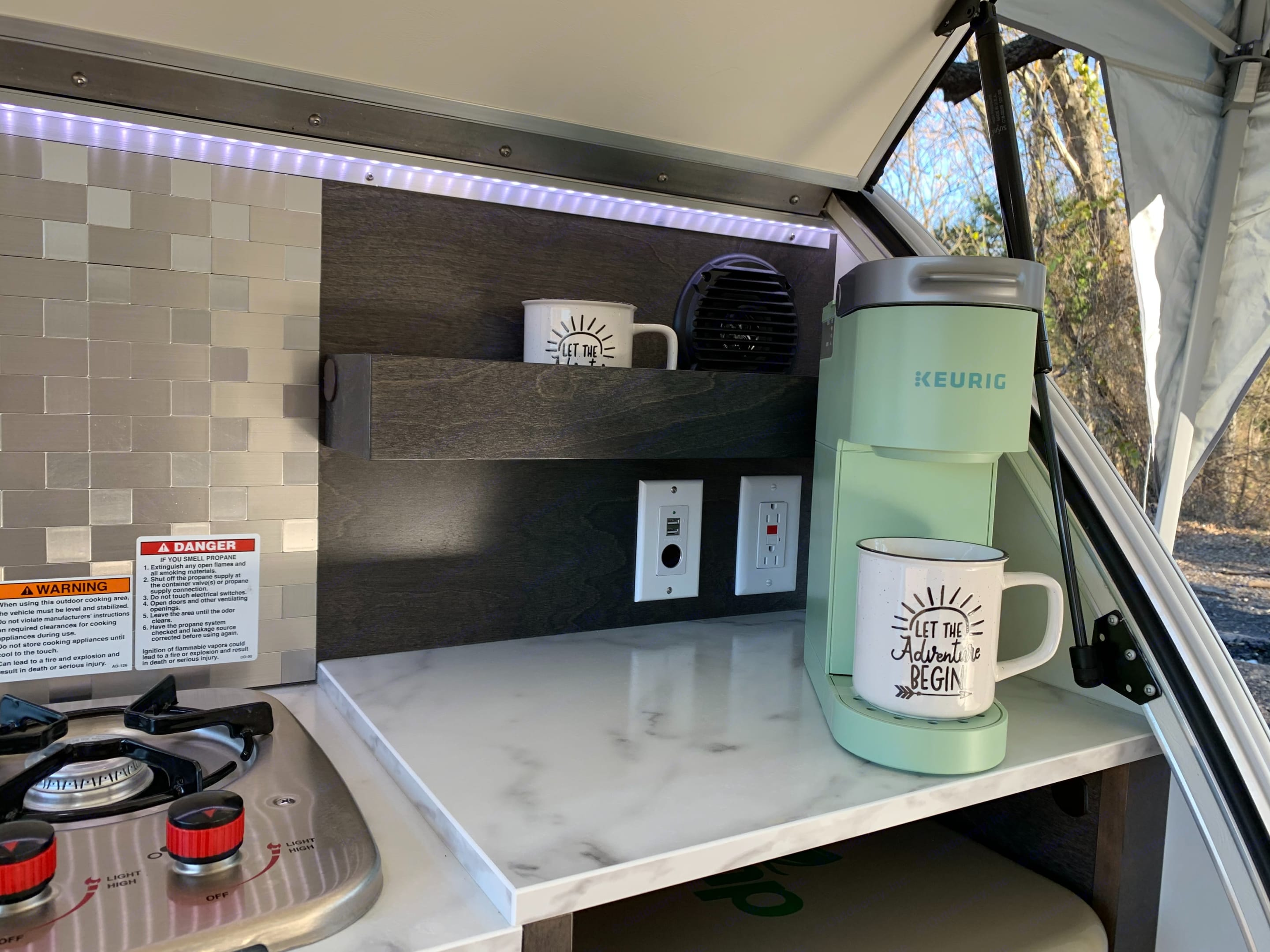 Coffee and Hot Chocolate Pods provided!. American Teardrop TRL 2021
