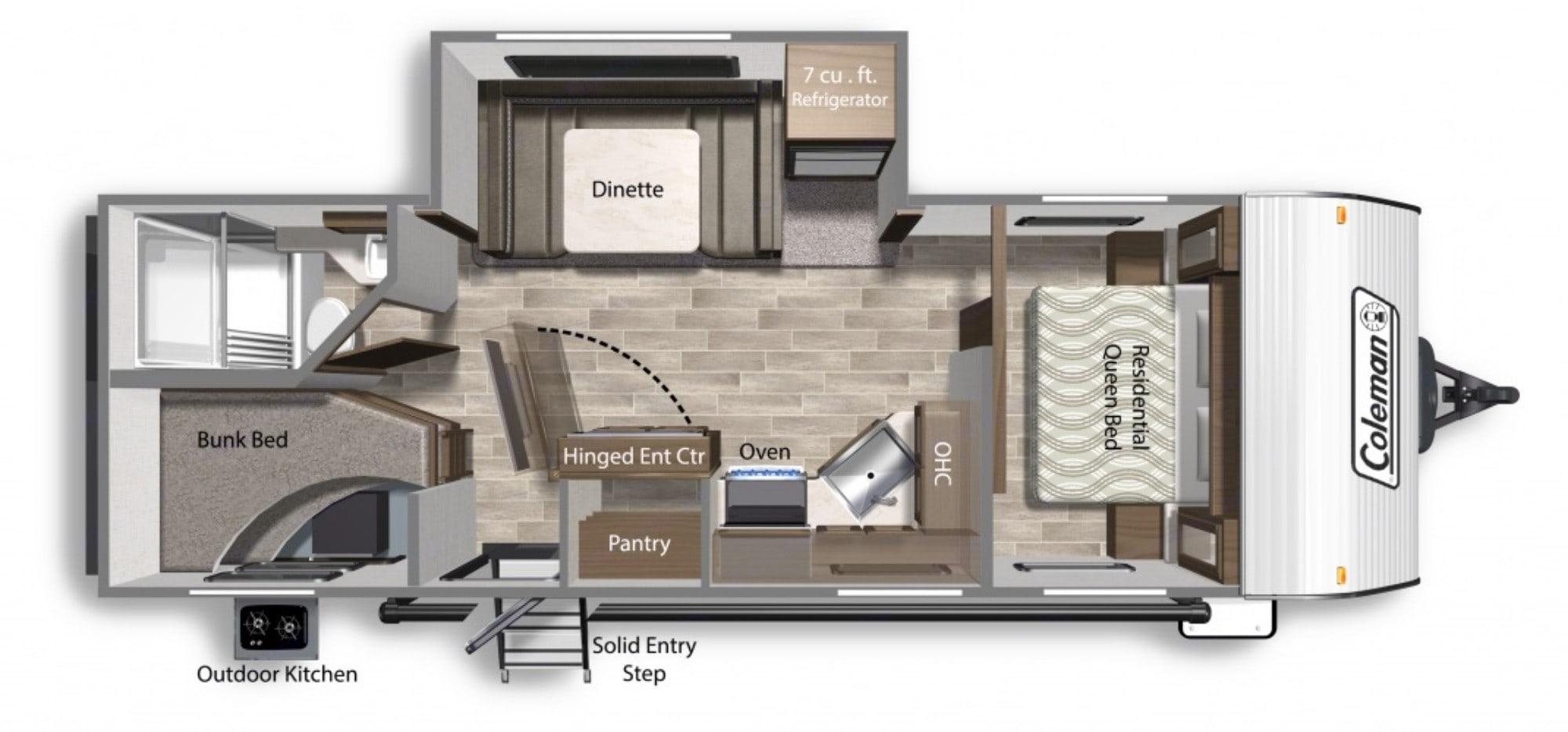 Separate bedroom, bunks and slideout. Dutchmen Coleman 2021