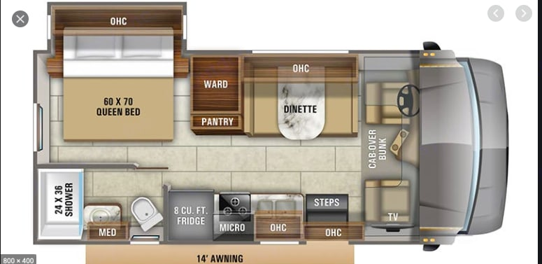 Dining room table, full kitchen, bathroom, queen sized bed, large bed over cab. Jayco Redhawk 2020