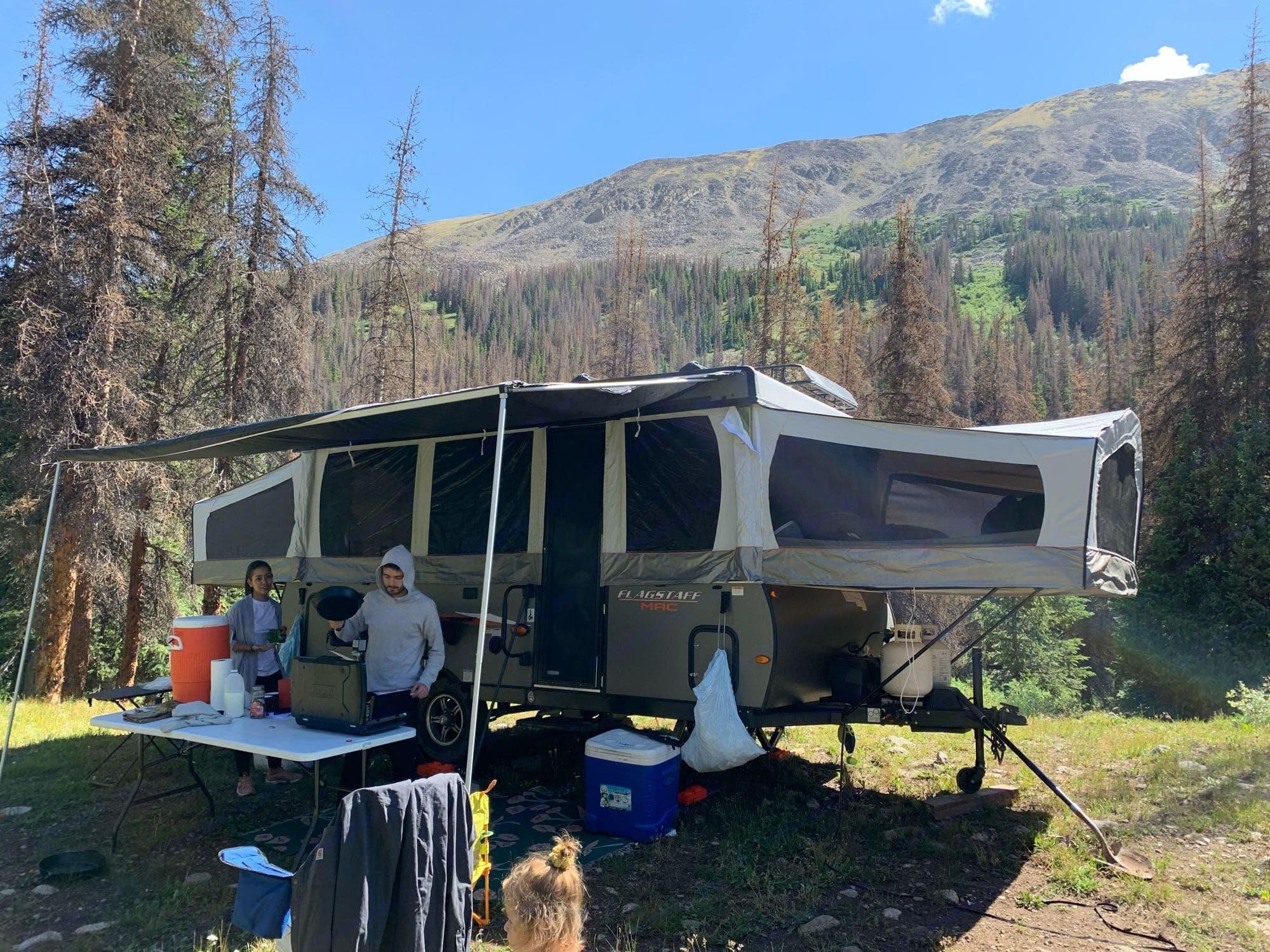 Boondocker setup at Hancock Ghost Town. Forest River Flagstaff 2020
