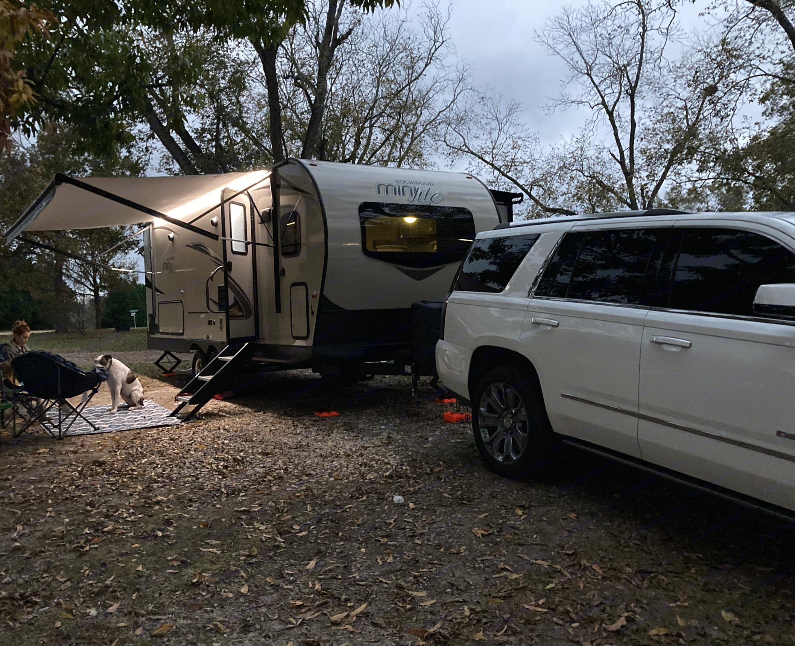 Awning w LED Lights, easy enter steps, camping chairs, and rug (dog not included ;). Forest River Rockwood Mini Lite 2019