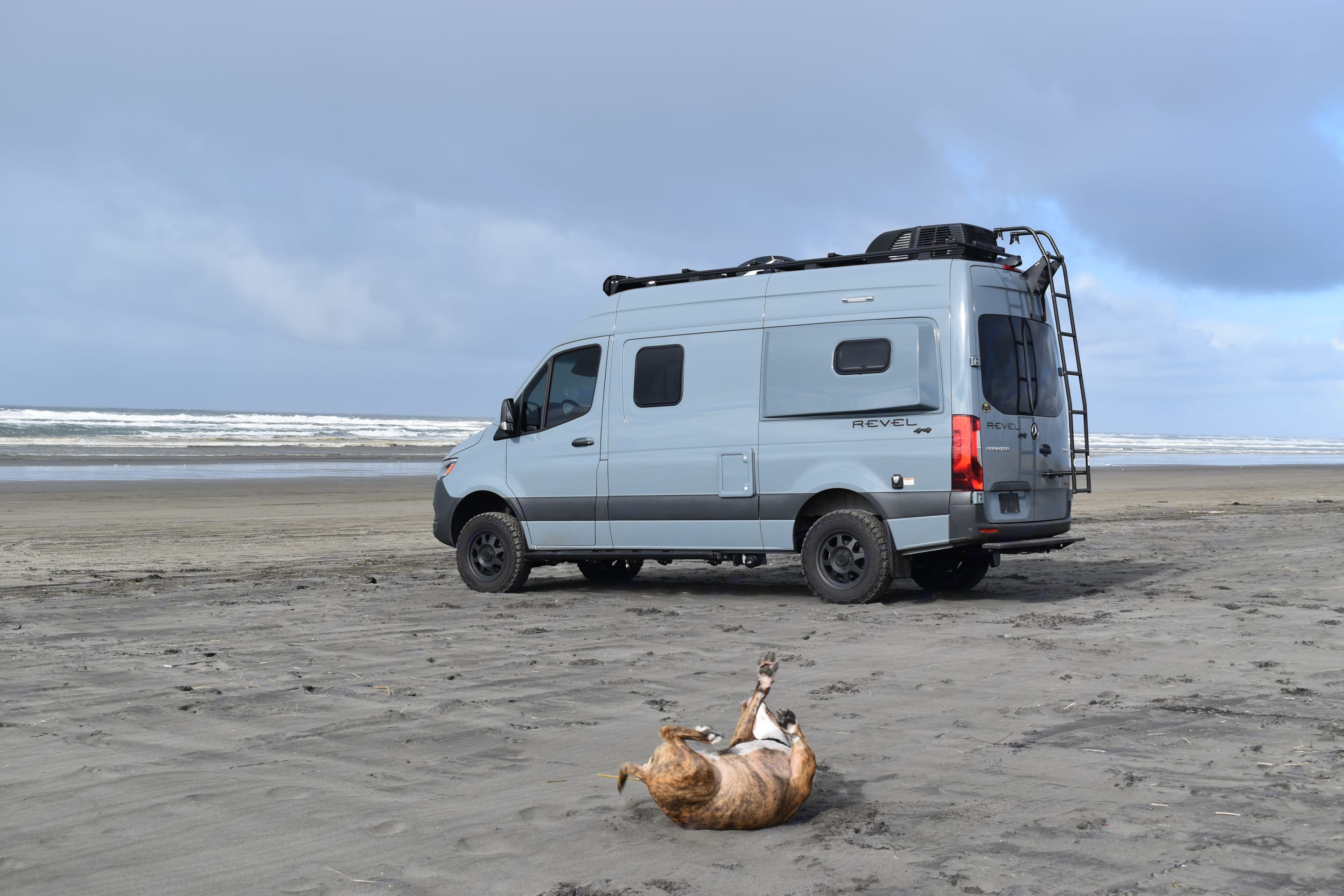 Does your dog love the beach as much as our girl?. Winnebago Revel 2021