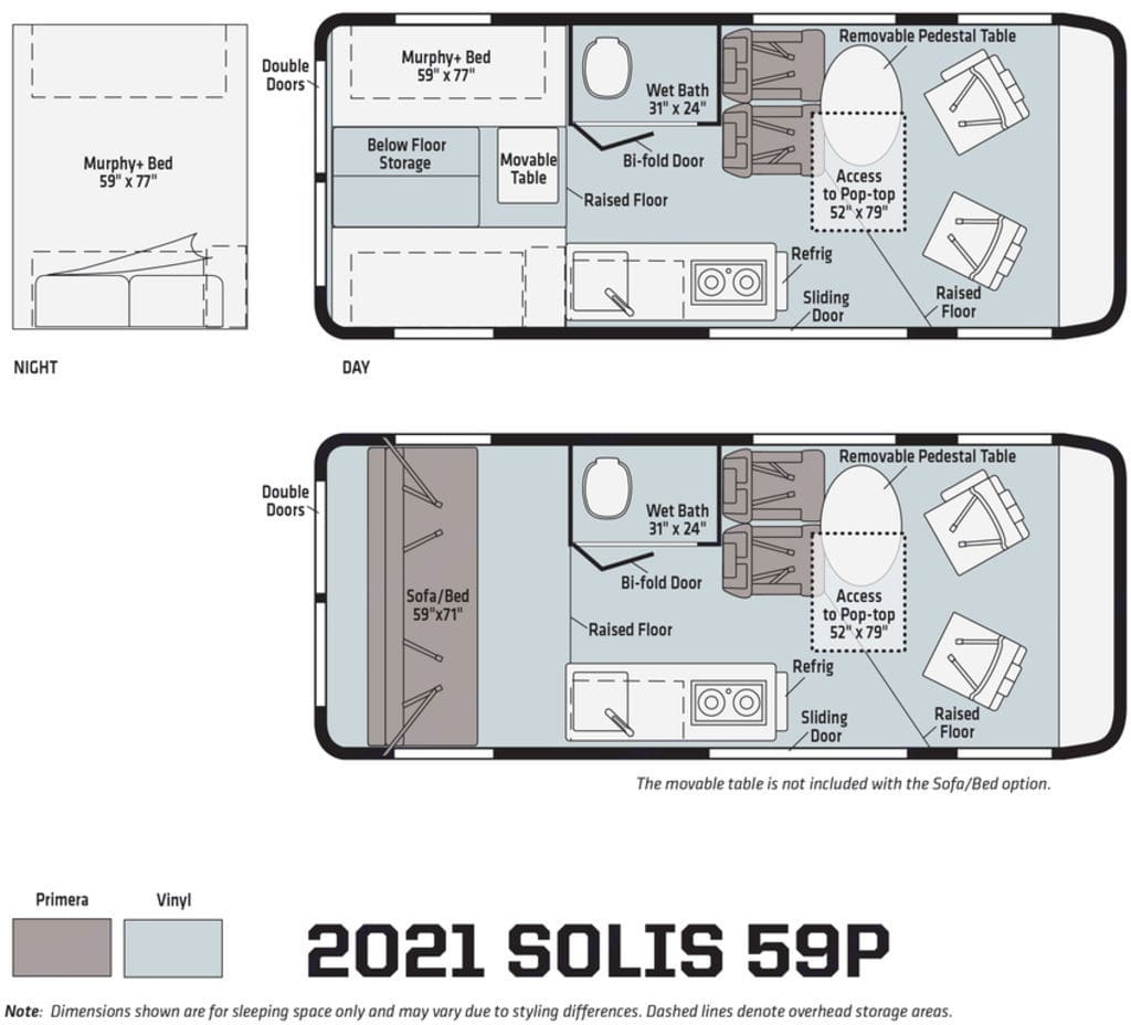 This van has the rear bench seat layout, the lower layout in the photo.. Winnebago Solis 2021