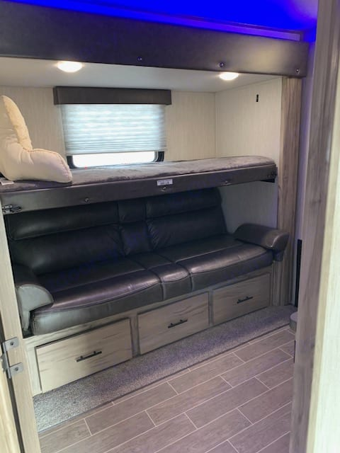with drawers on bottom and small closet not shown. Forest River Cherokee Arctic Wolf 2020