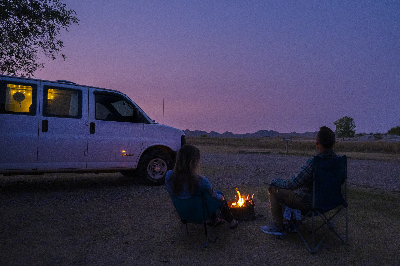 Camping in Badlands National Park. Chevrolet Express 2500 2006