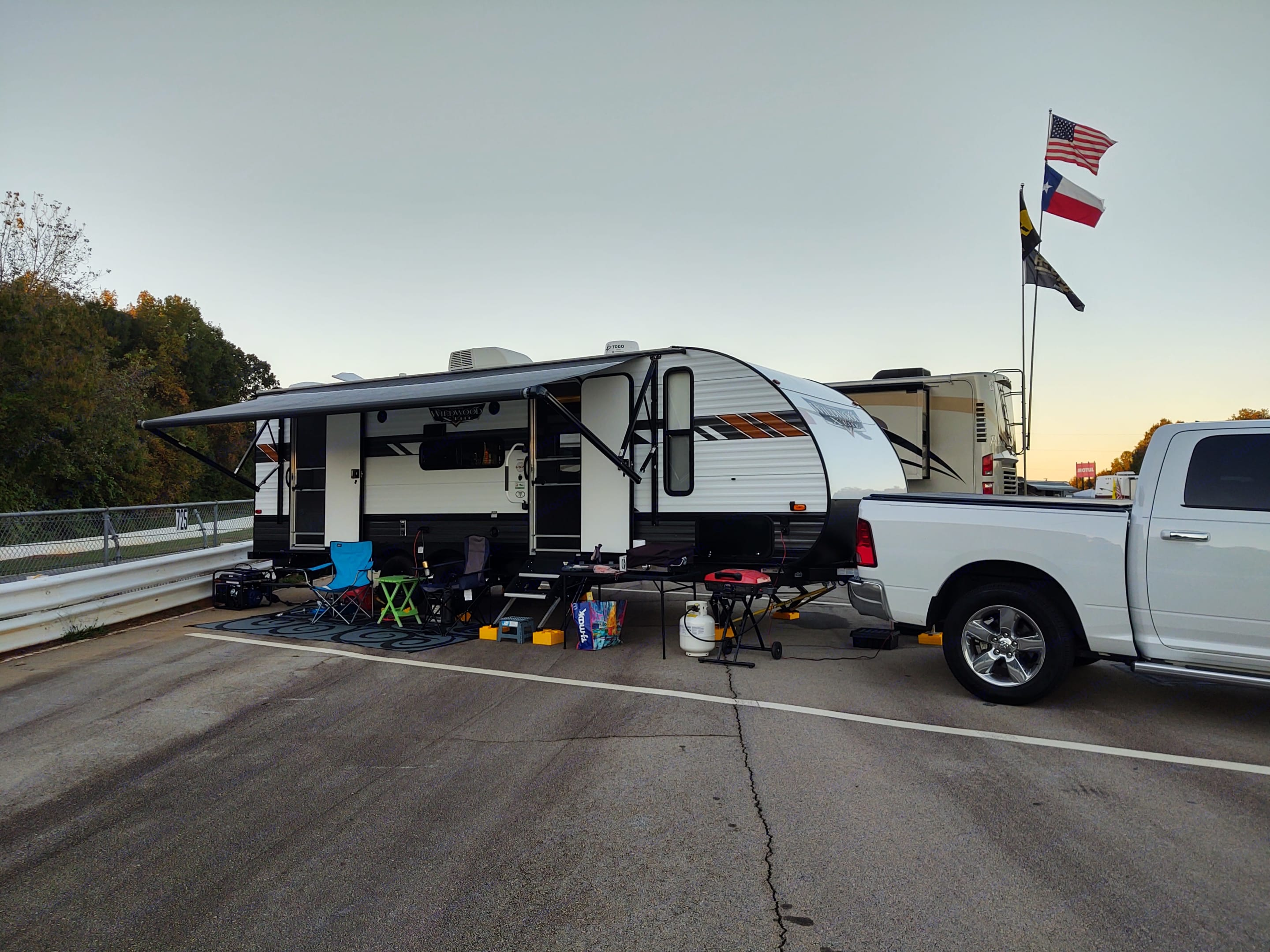 Boondocking with a generator at Road Atlanta for Petit Le Mans. Forest River Wildwood X-Lite 240BHXL 2020