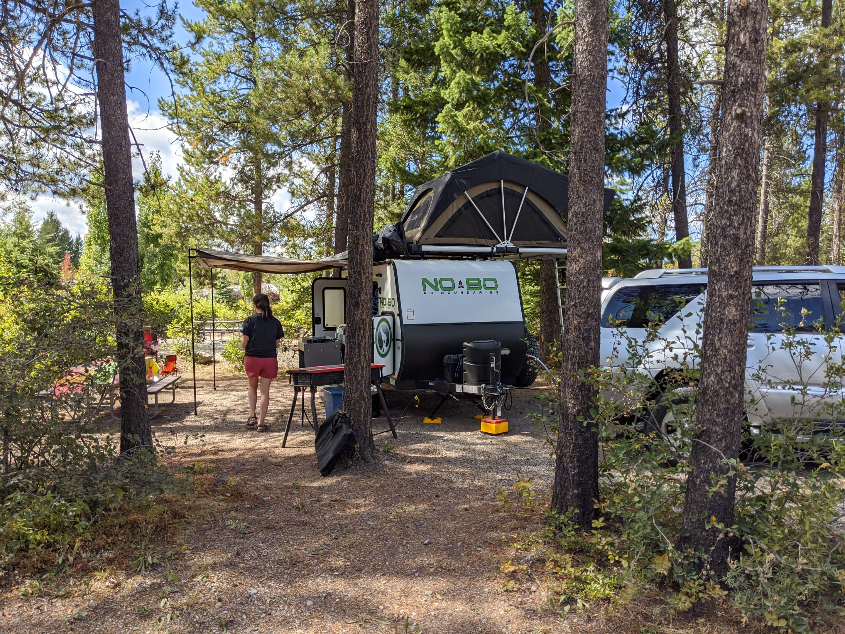 Small enough to fit in between the trees. Forest River No Boundaries 10.5 2020