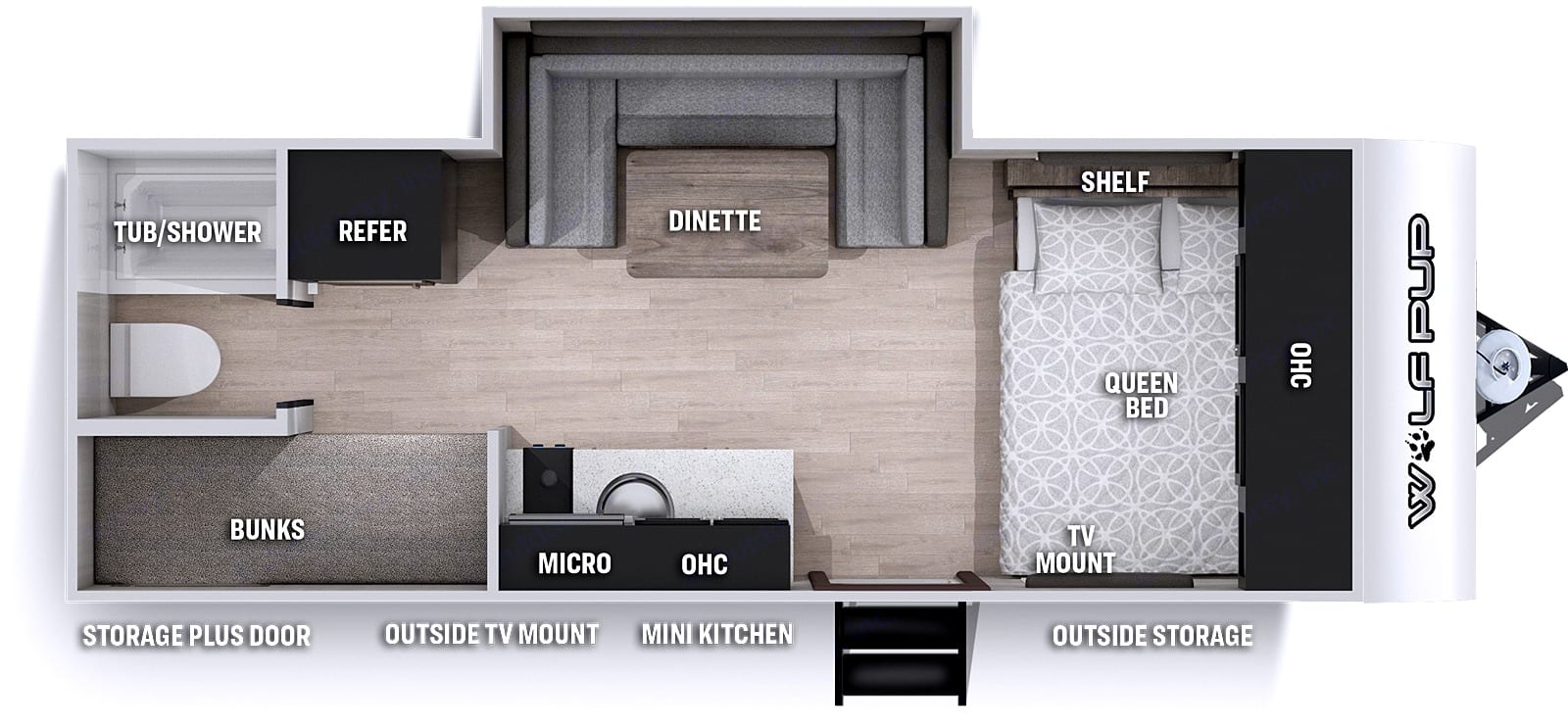 Family Friendly Floorplan. Forest River Cherokee Wolf Pup 17JGBL 2021