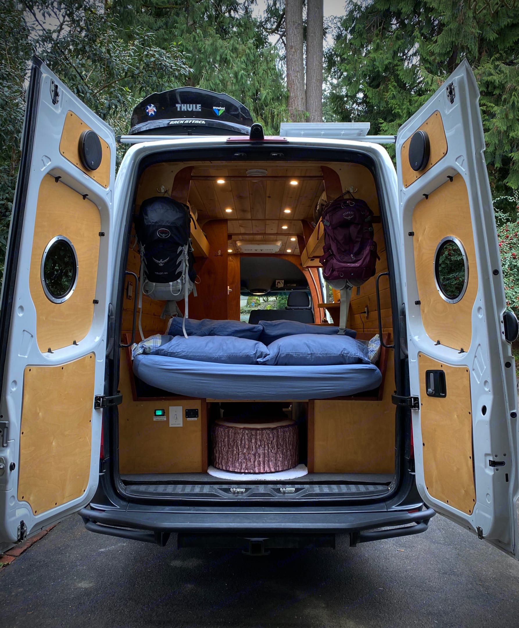 The rear doors offer access to gear hooks and power controls.. Mercedes-Benz Sprinter 2008