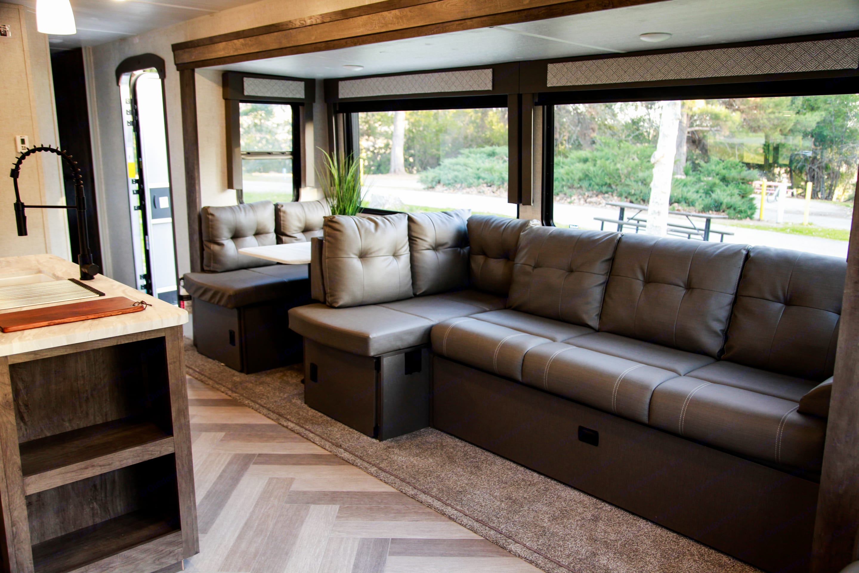 Transform your living room couch to different layouts. Forest River Wildwood 2021