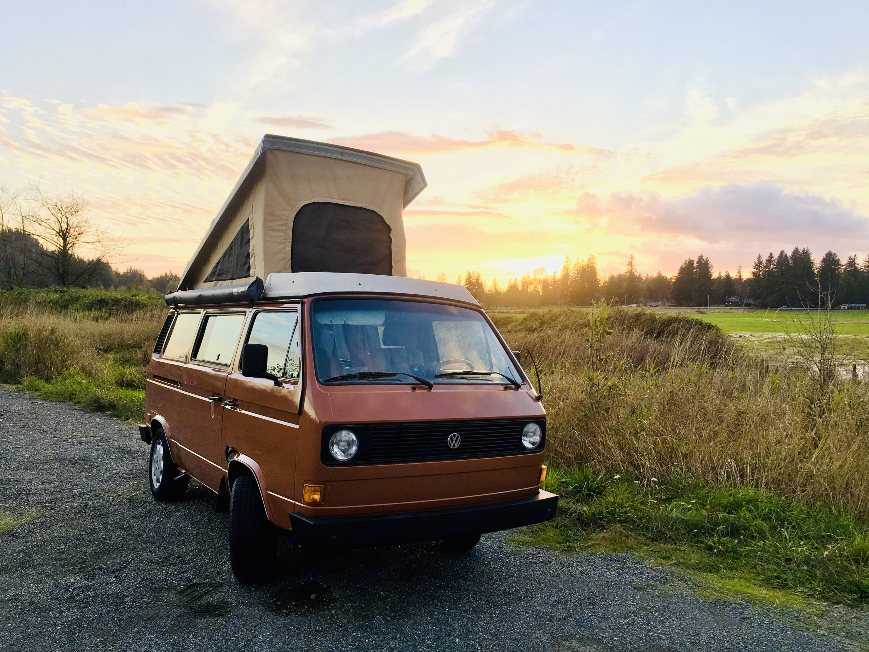Dundee can park anywhere after a long drive and still give you all the necessities to enjoy a nice evening.. Volkswagen Westfalia 1982