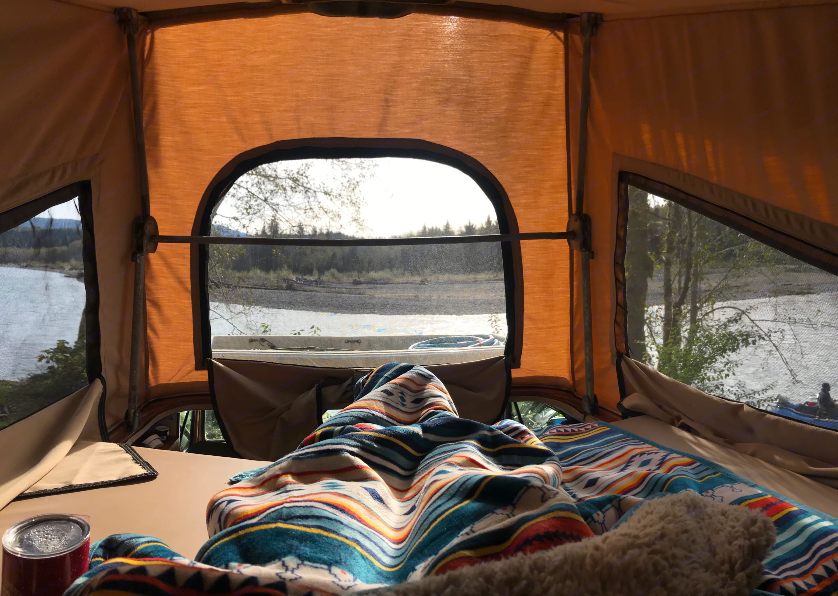 Relaxing in the sun on a fall day in the Hoh rainforest. . Volkswagen Westfalia 1982