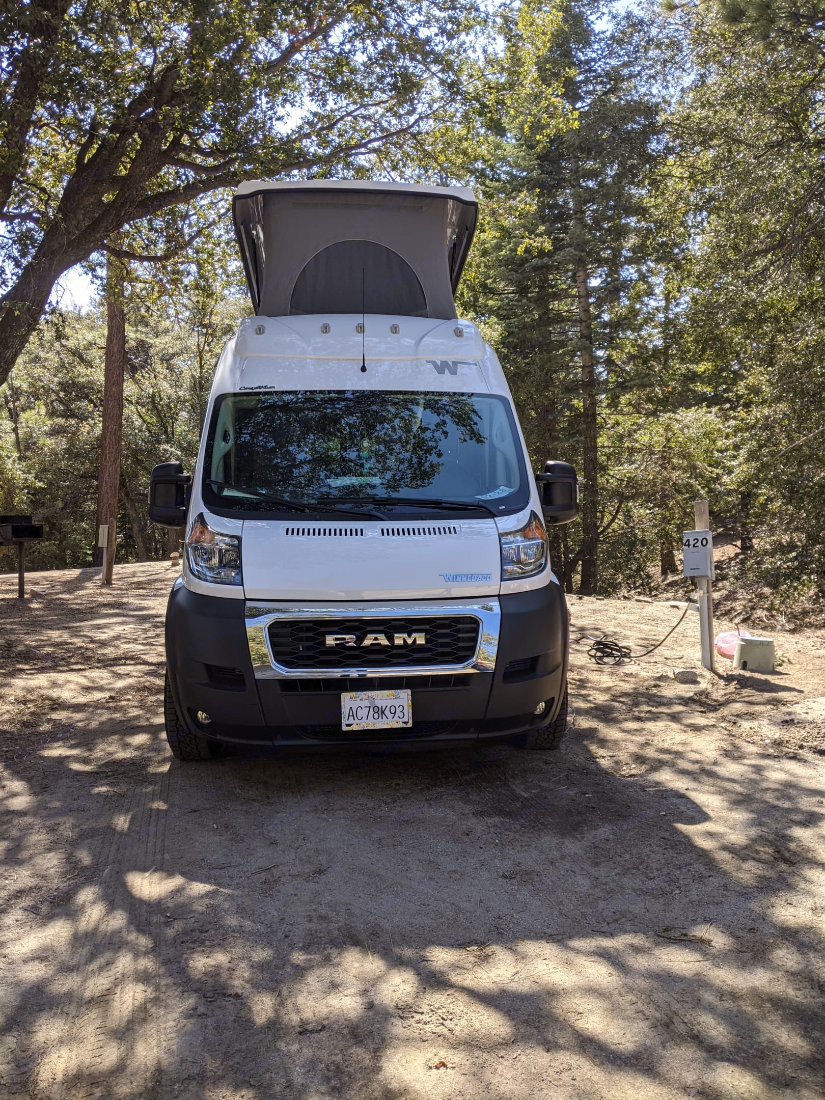 Camping with electrical hookup in Idylwild, CA . Winnebago Solis 59PX 2021