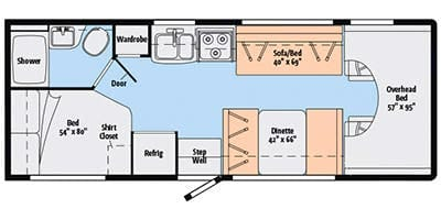 This is the overview of the RV floorplan.  Everything you'll need is conveniently near by.. Itasca Spirit 2014
