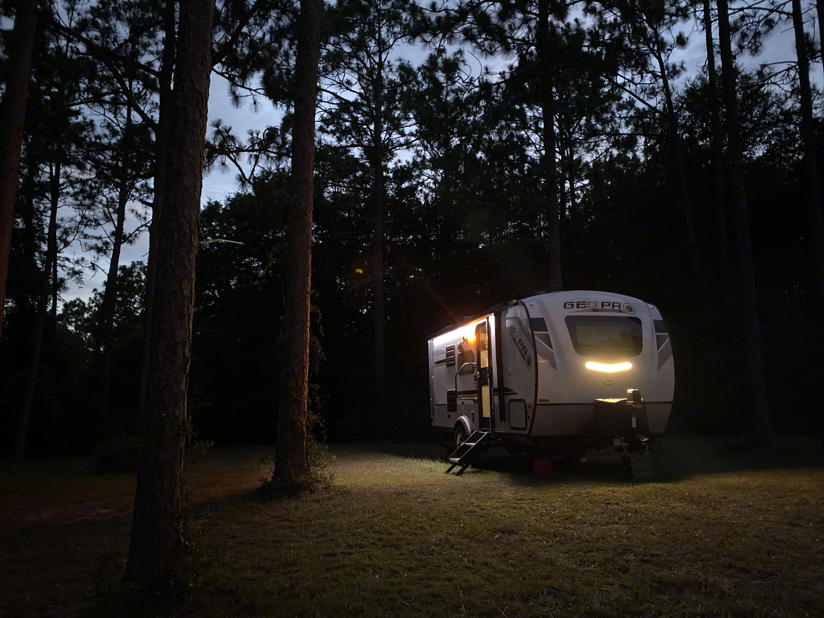Our RV has solar power, and is perfect for boon docking, but we always recommend connecting to water and power.  . Forest River Rockwood 2020