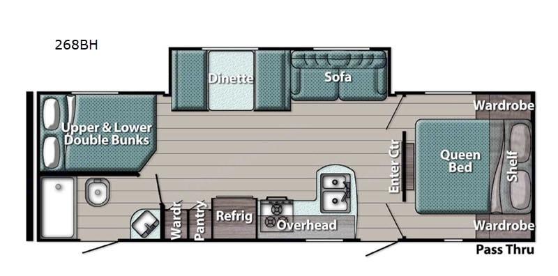Floorplan. Gulf Stream Ameri-Lite 268BH 2021