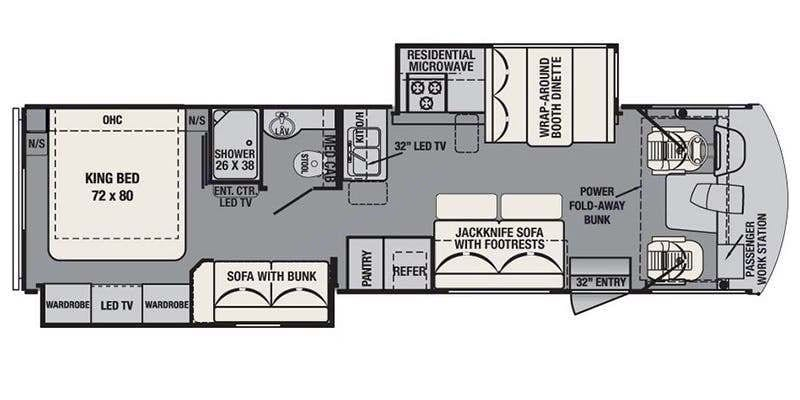 Floorplan changes: Queen bed: not King. No pantry, this unit has the huge fridge option. 8 Seatbelts: 2 on each couch, 2 on dinette & 2 front seats.. Forest River Fr3 2016