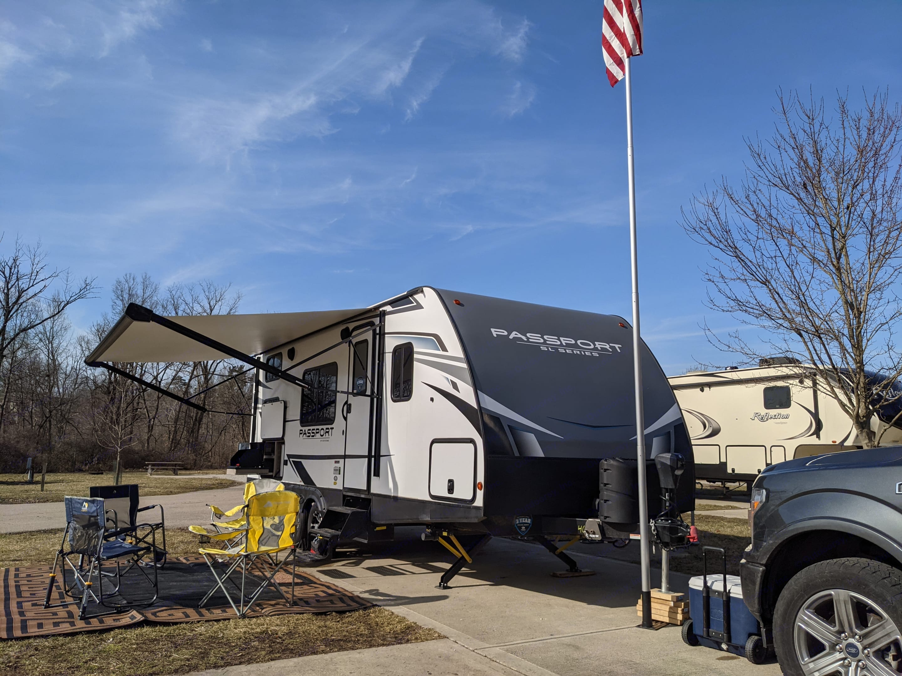 This was our site at Winton Woods, a Hamilton County park. Keystone Passport 2021