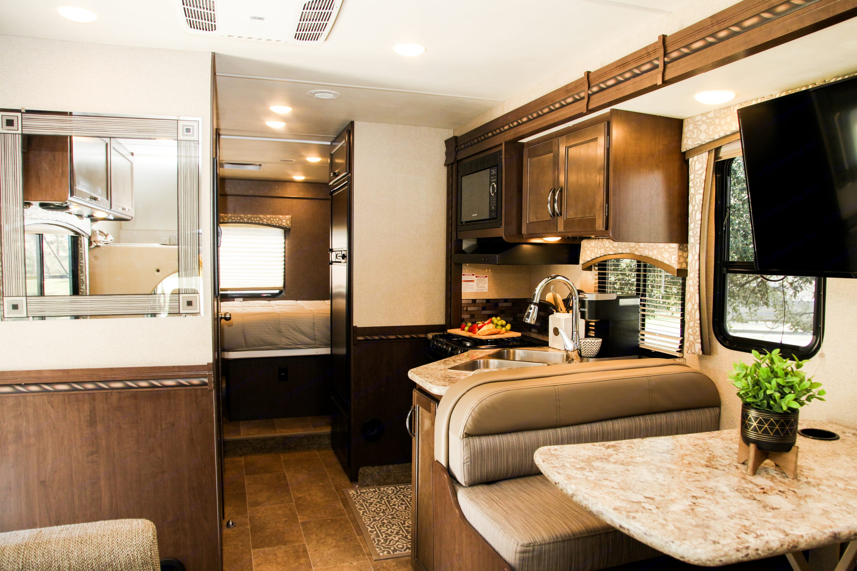 RV has a slide in Living room and Bedroom that can be opened after you arrive to camp to give you maximum space!. Thor Motor Coach Chateau 2017