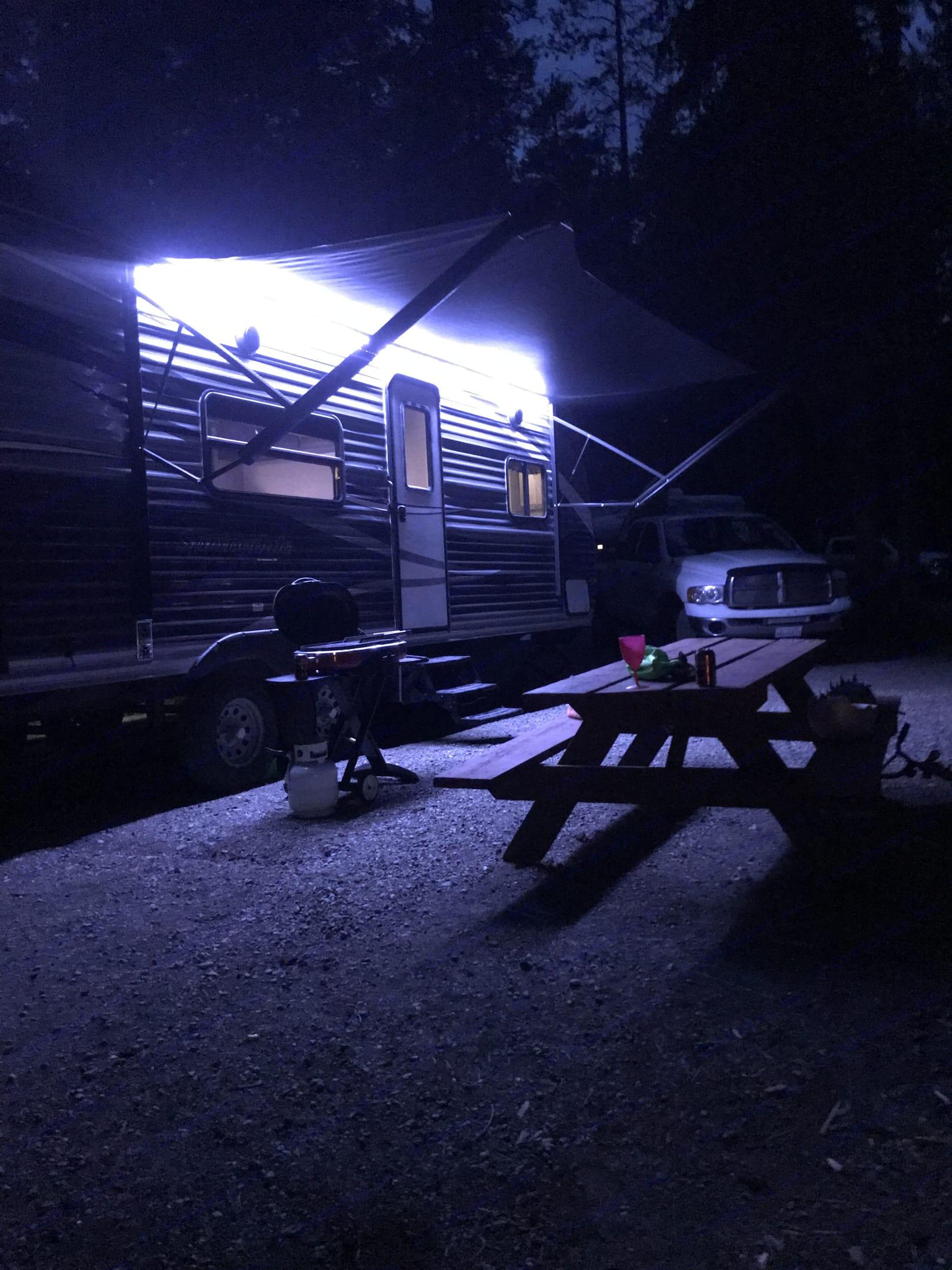 Night set up-with LED lights on.. Keystone Springdale 2019