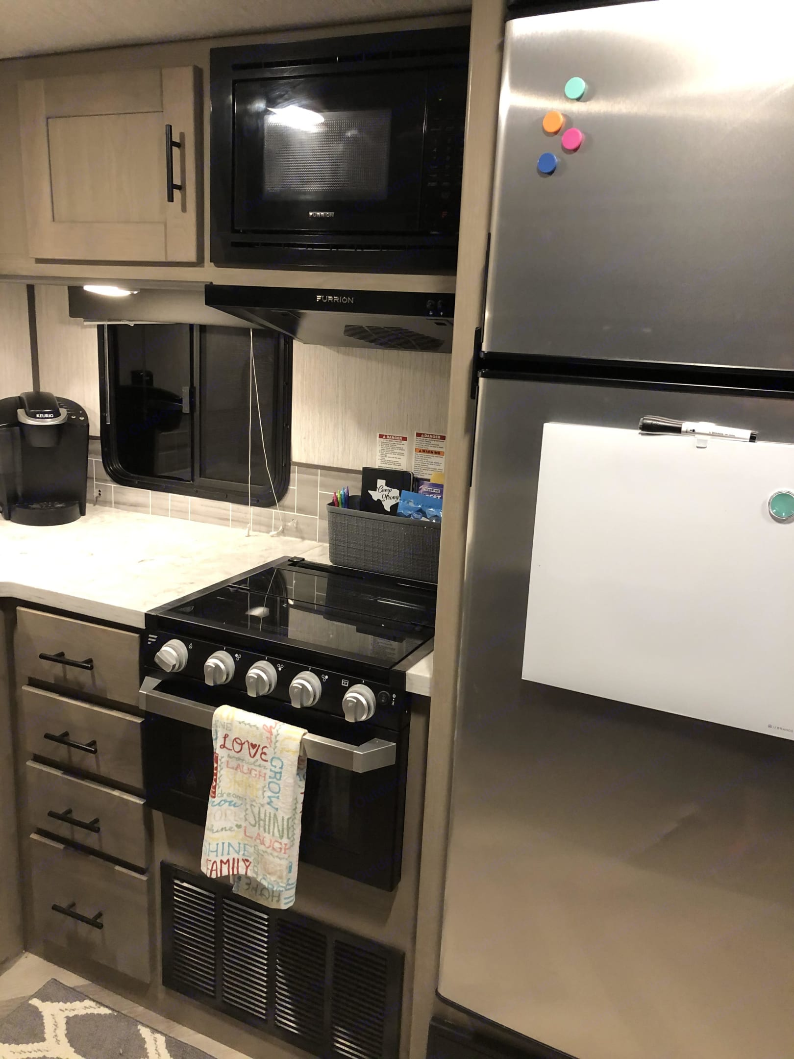 Fully stocked with everything you need. Plus the unit comes with a Keurig and countertop ice makers.  All you need to worry about is packing food! . Cruiser Rv Corp Twilight 2021