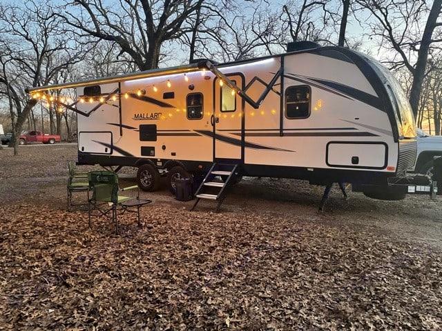 Campsite at sunset....tough to beat. Heartland Mallard 2020