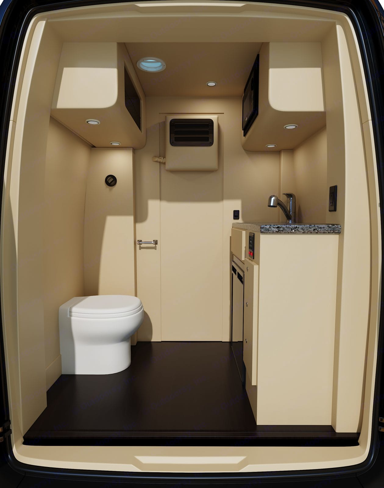 There's a microwave, sink & dorm size fridge located in the bathroom along with the toilet.  Cabin storage is located above as well. . Mercedes-Benz Sprinter 2021
