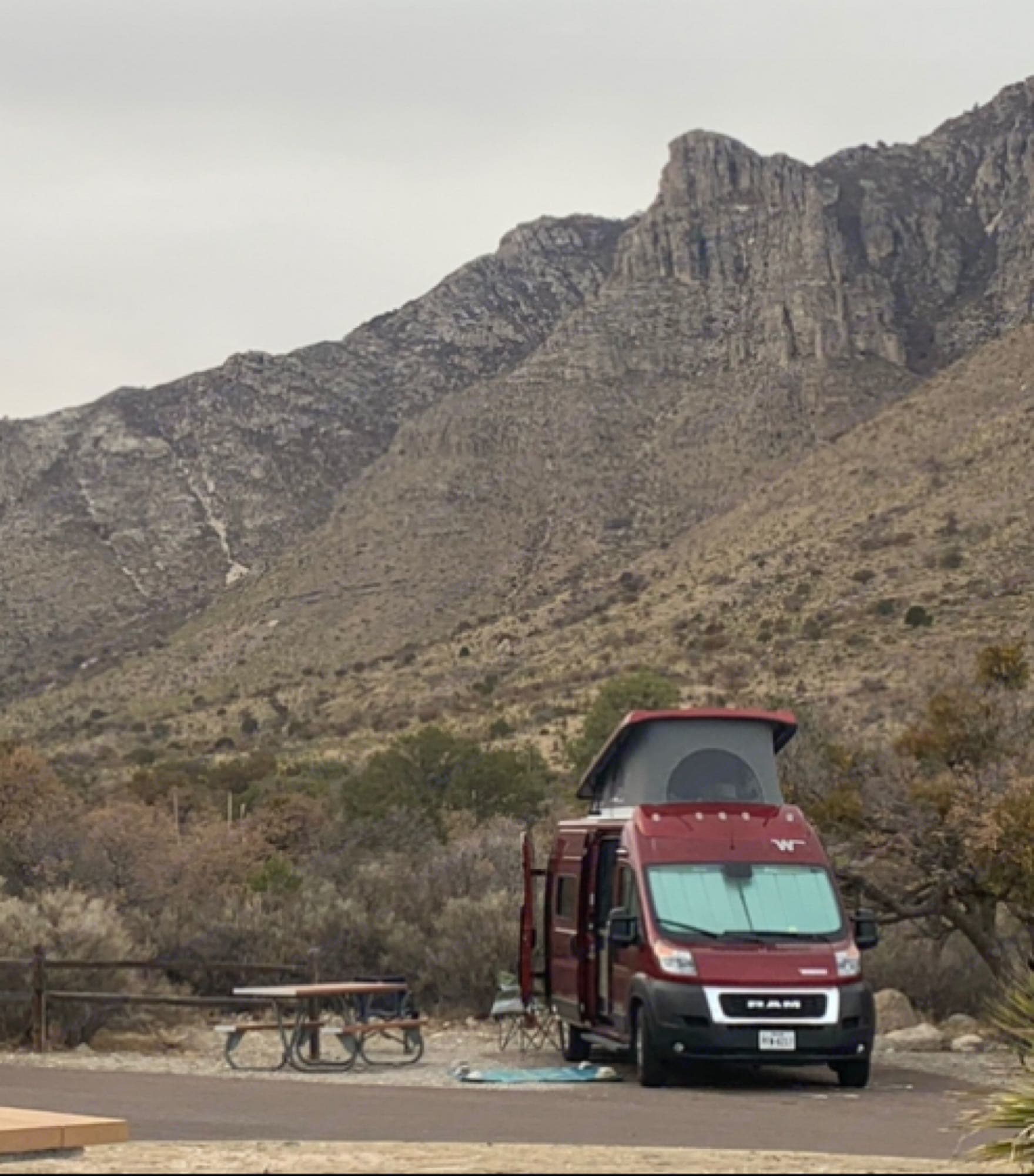 Rosie at Guadalupe Mountains National Park 2021. Winnebago Solis 59PX 2021