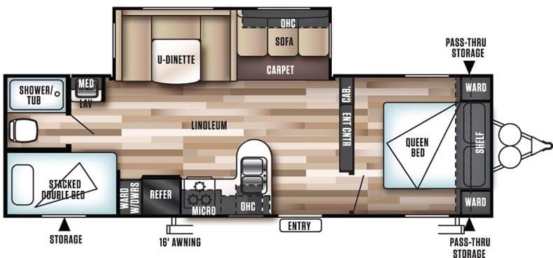 Floorplan. Forest River Wildwood 28DBUD 2018