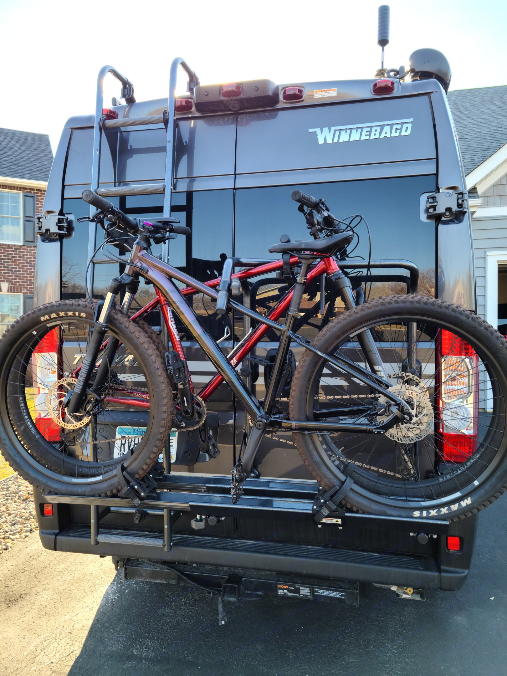 The bike rack easily loads up two  bikes and the back doors still open!. Winnebago Other 2021