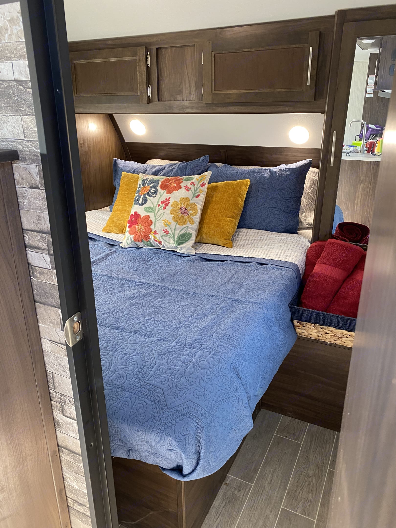 """Very comfortable queen bed with 4"""" memory foam topper. This is not your regular camper bed. . Forest River Cherokee 2019"""