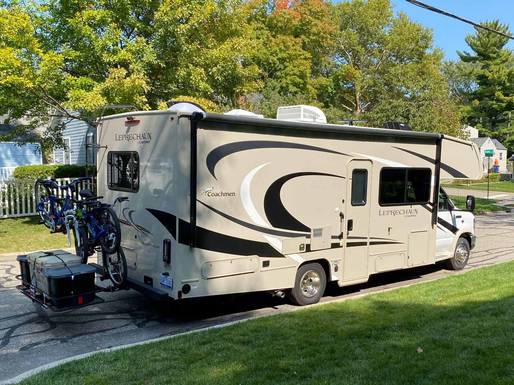 Fully loaded with bike rack and cargo carrier.. Coachmen Leprechaun 2021
