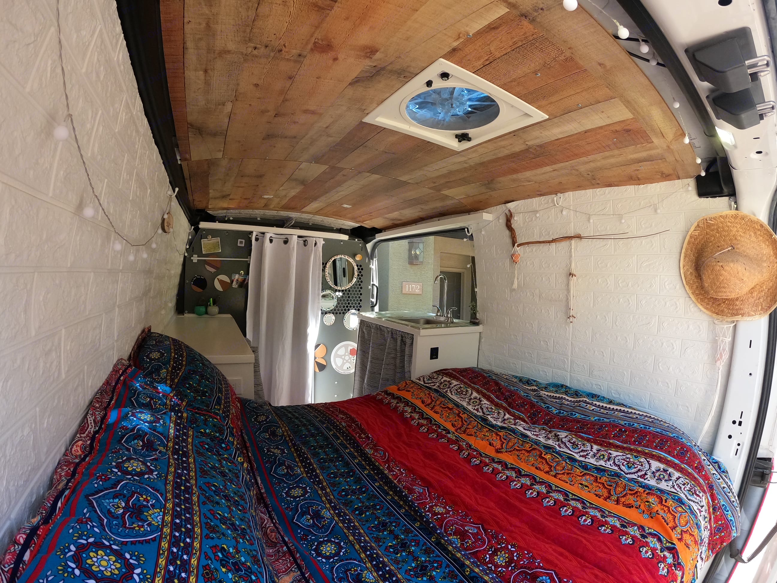Full sized bed with storage space underneath . Ford Transit 2017