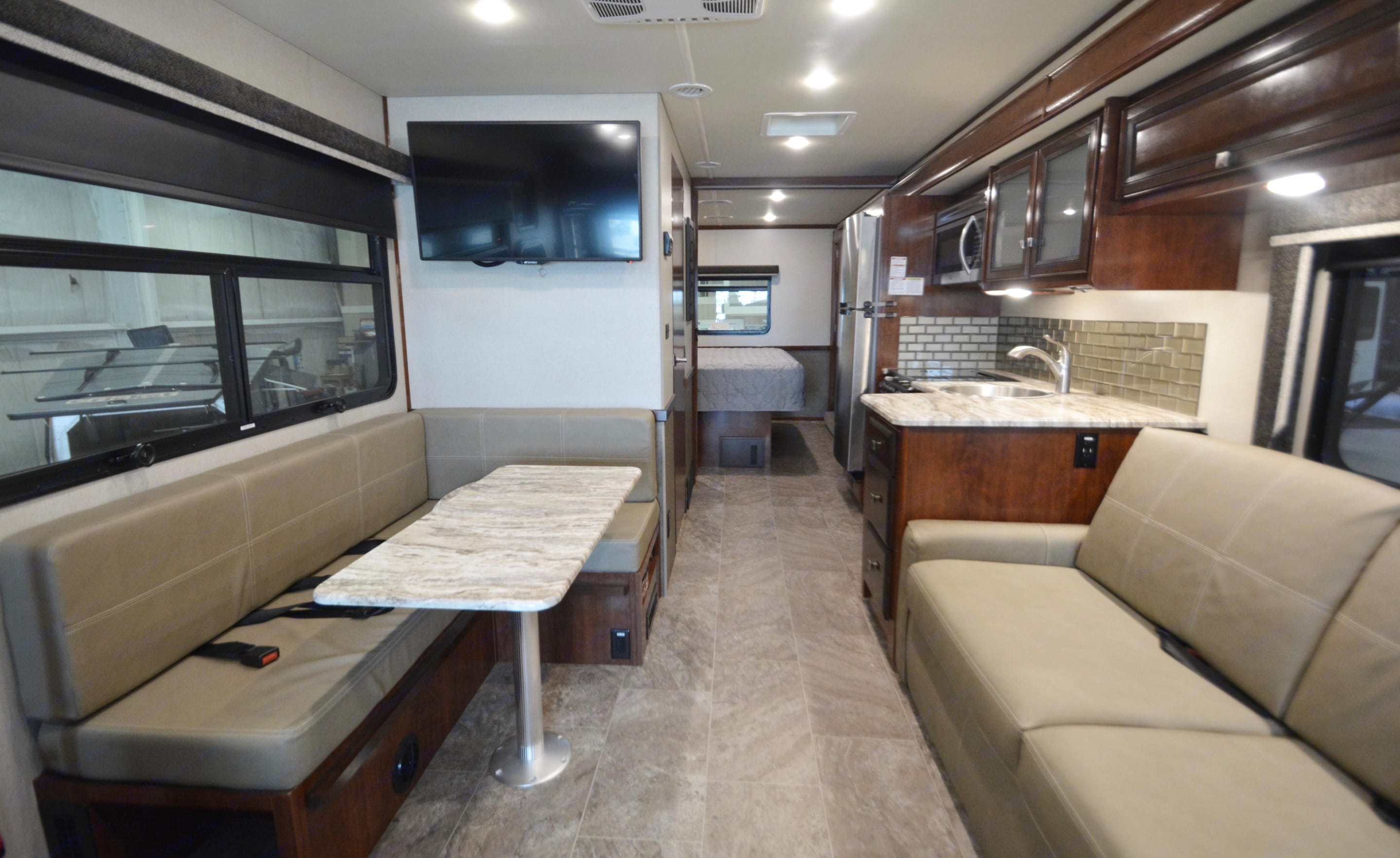 Lots of space to relax when camping! back facing (slider out). HolidayRambler Admiral 2019