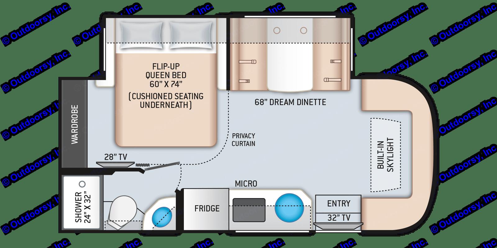 Complete interior floorplan. Thor Motor Coach Compass 23TW 2021
