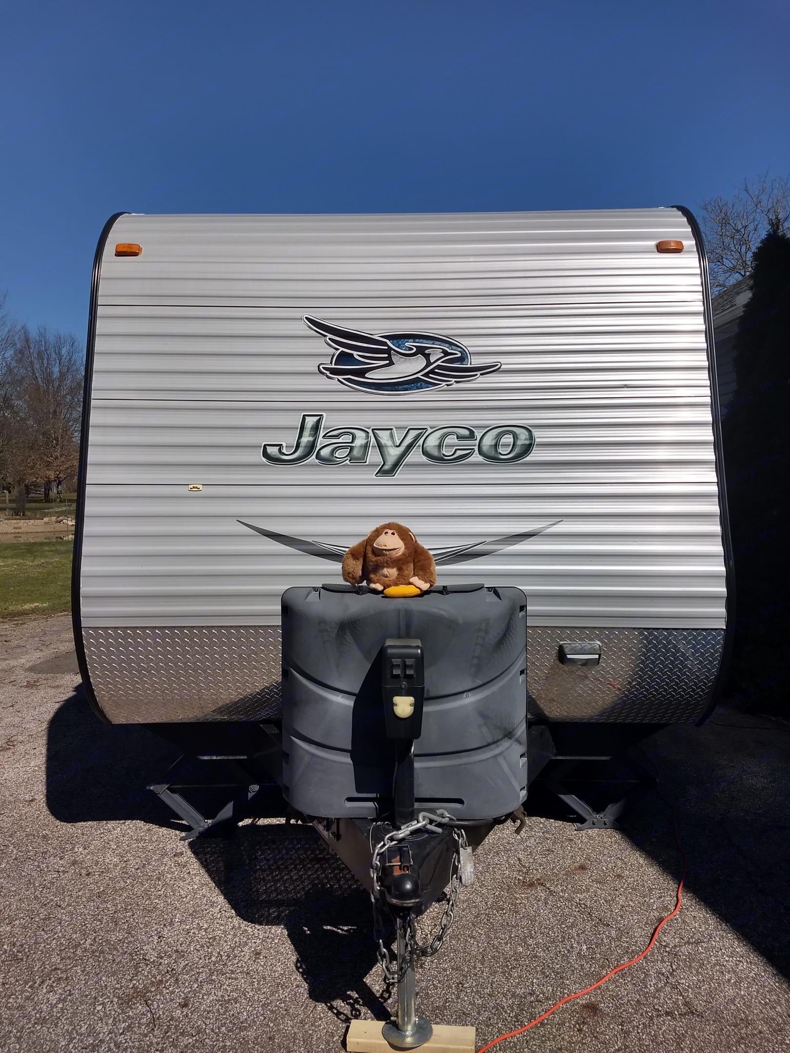 Jo-jo, the mascot showing off the front of our Jayco Jay Flight!. Jayco Jay Flight 2015