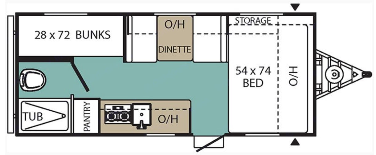 2 bunks, full sized bed, dinette that converts, bathroom, and kitchen. Coachmen Viking 2018