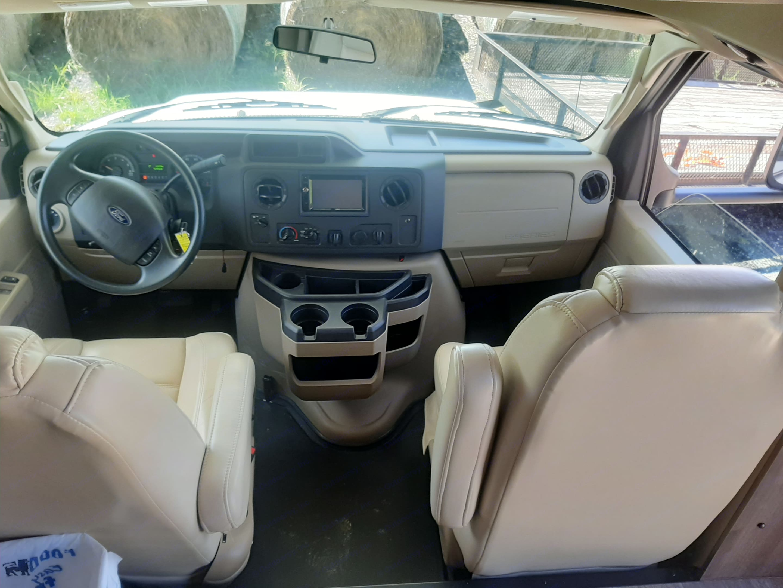 Driver's seat, electric adjustments, navigation, Bluetooth, cd/dvd player, storage. Jayco Redhawk 2018