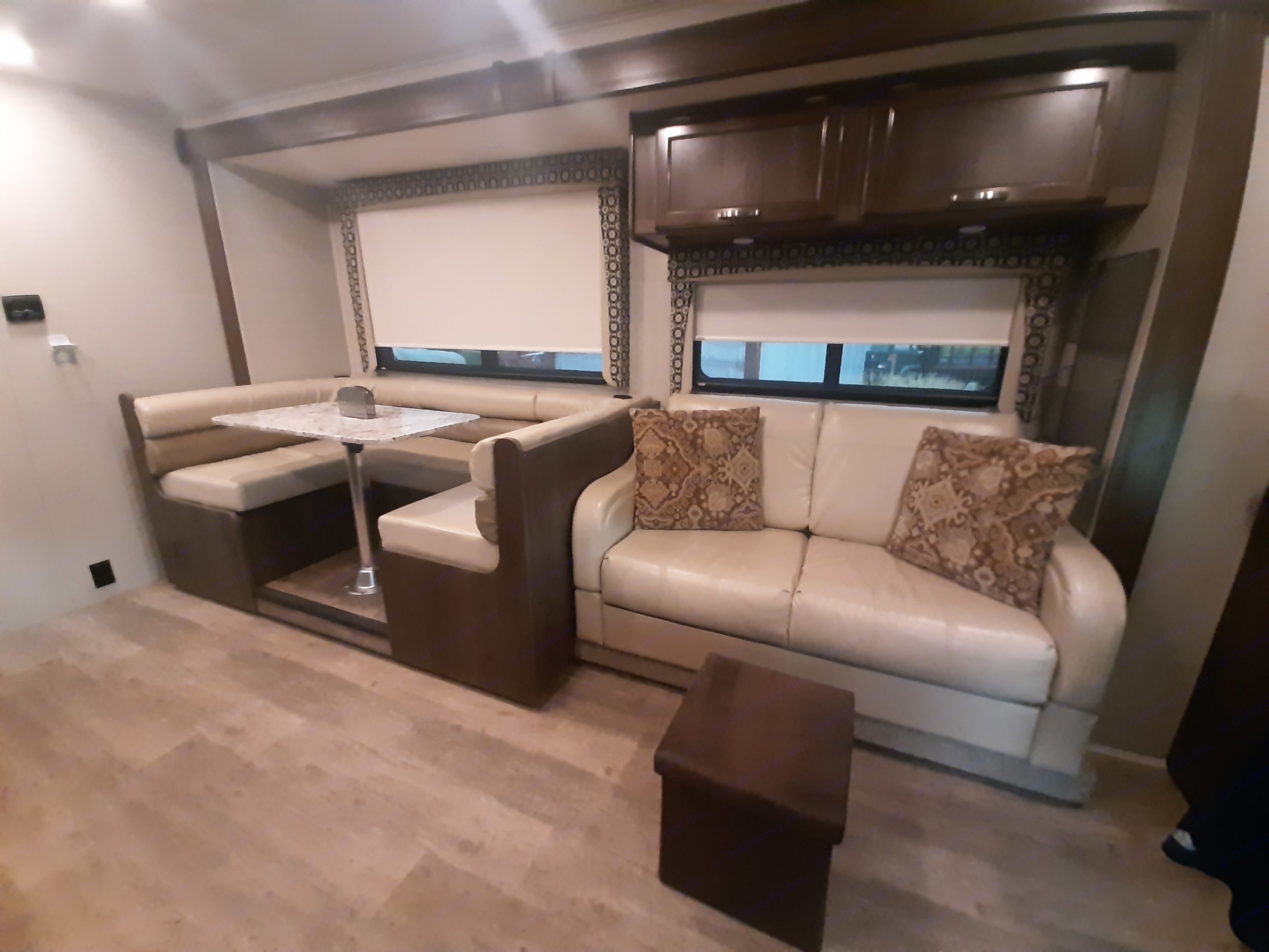 Dinette seats 4 to 6 comfortably, Jack knife sofa folds out into sleeper. Dinette converts into extra sleep area.. Jayco Redhawk 2018