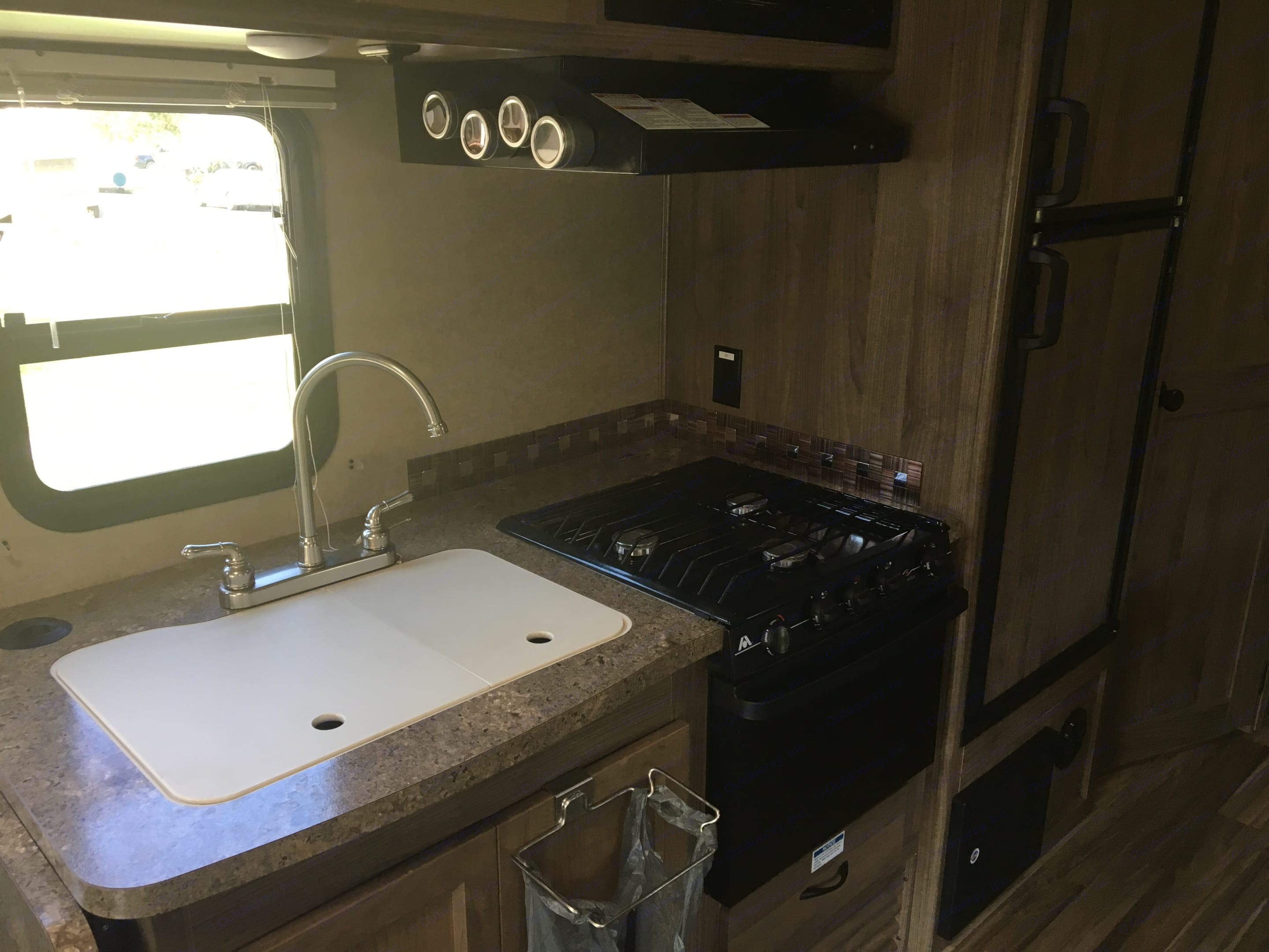 Great kitchen with stove, oven, big double sink and fold down extra counter space. Coachmen Prism 2017