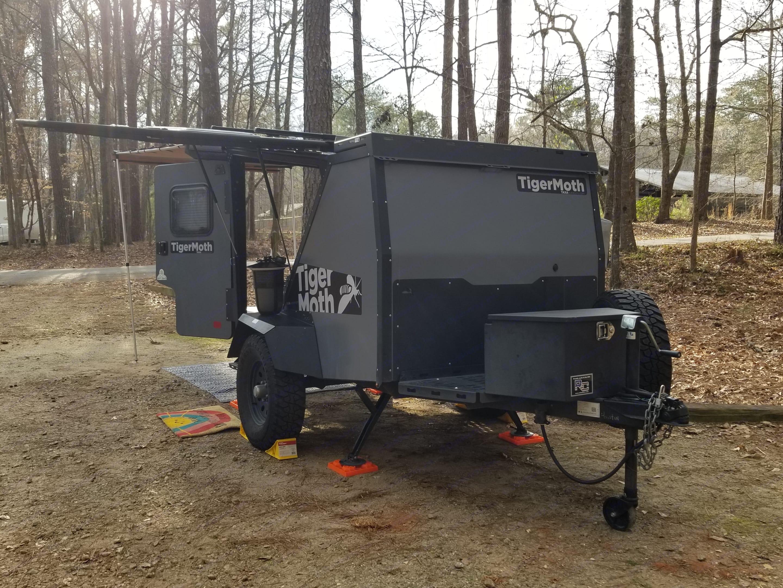 Batwing door open.. TAXA Outdoors Tigermoth Camper 2019