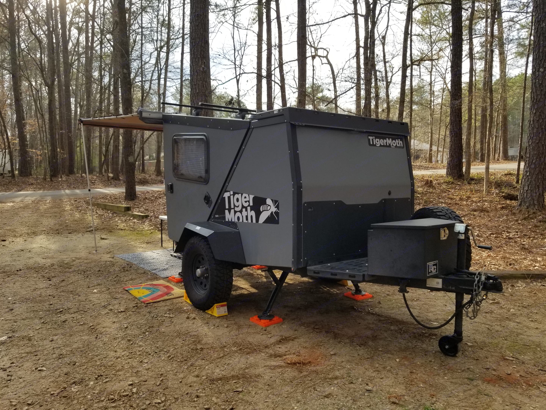 Batwing door closed.. TAXA Outdoors Tigermoth Camper 2019