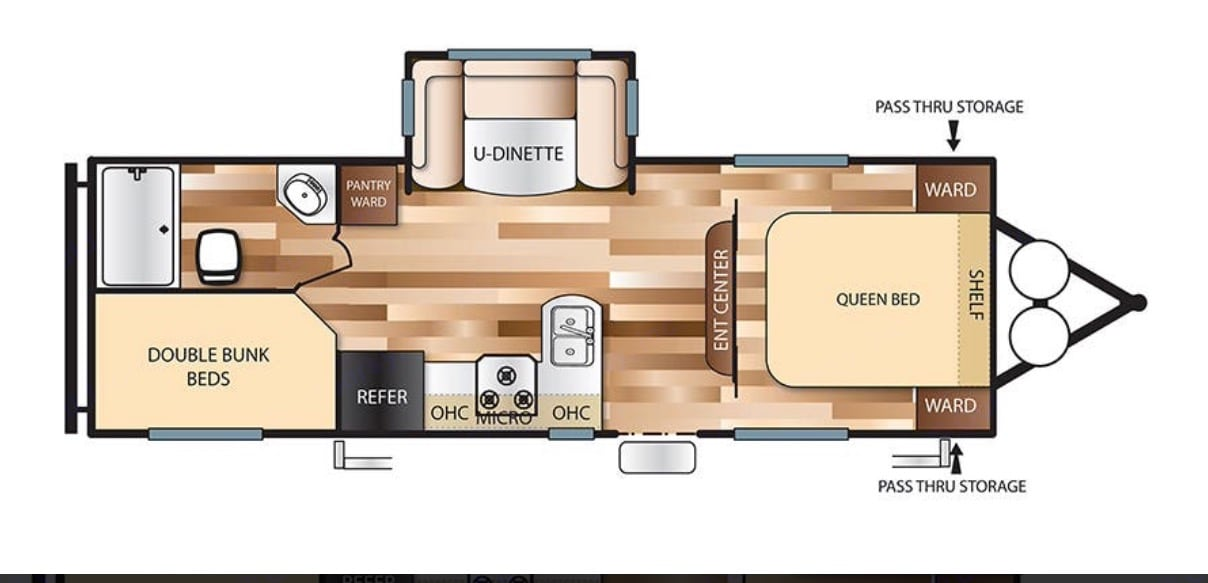 This is the trailer's floor plan. It is spacious and is loaded with just about everything you need. . Forest River Wildwood X-Lite 2018