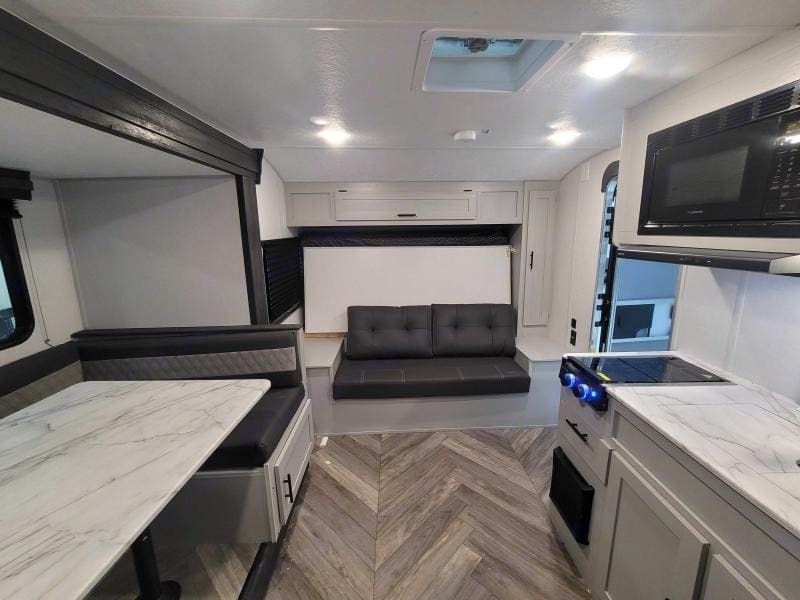 The large slide out gives this cozy RV a big feel inside. Forest River Salem 2021