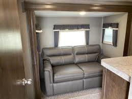 Has pull out couch (double) with TV, dresser and closet. Rockwood 2896MB 2020