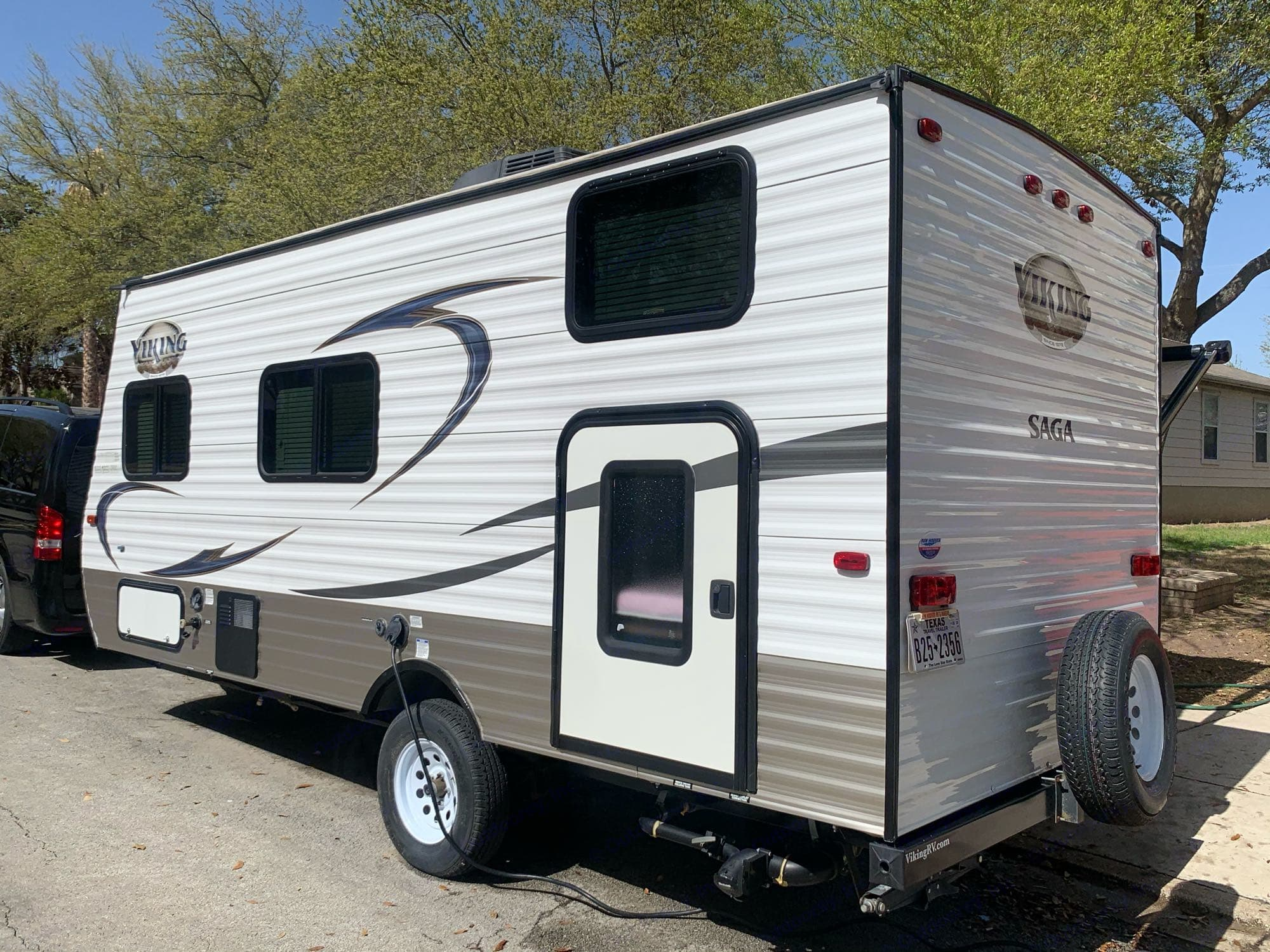 Roadside with mini door/bike or equipment storage access.. Forest River Viking 2018