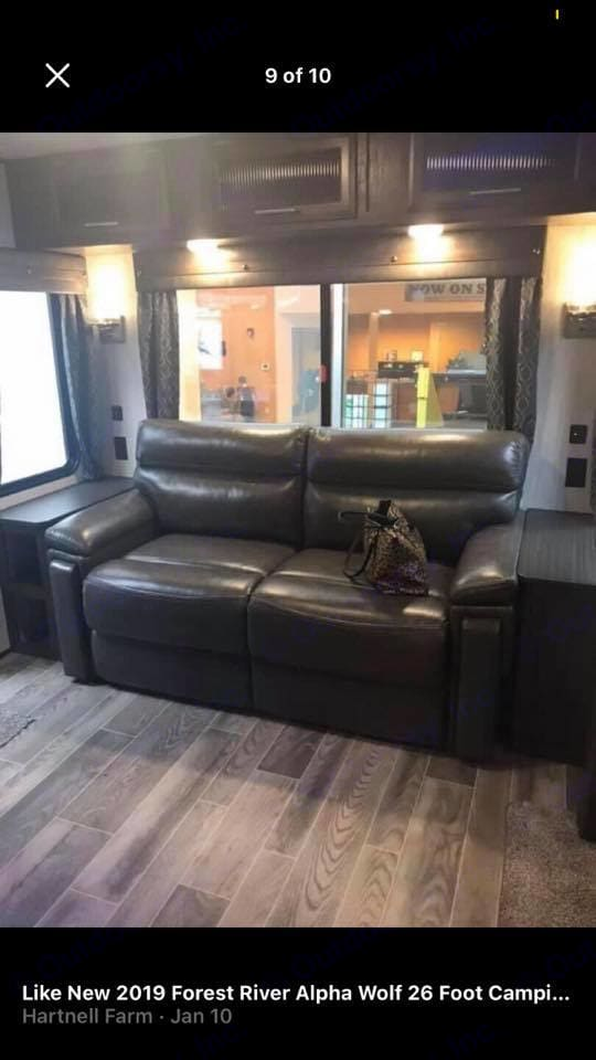 This comfortable couch is not just comfortable to sit on but it turns into a full size bed that sleeps 2 comfortably . Forest River Cherokee 2019