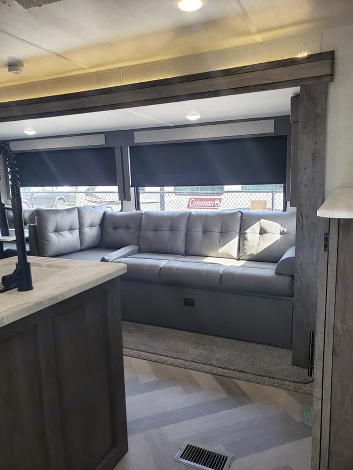 Comfortable couch that folds down to a bed. Forest River Salem 2020