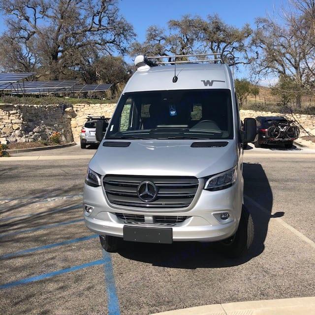 Silver Lining parked at Tablas Creek vineyard . MBZ/Winnebago Era 2021