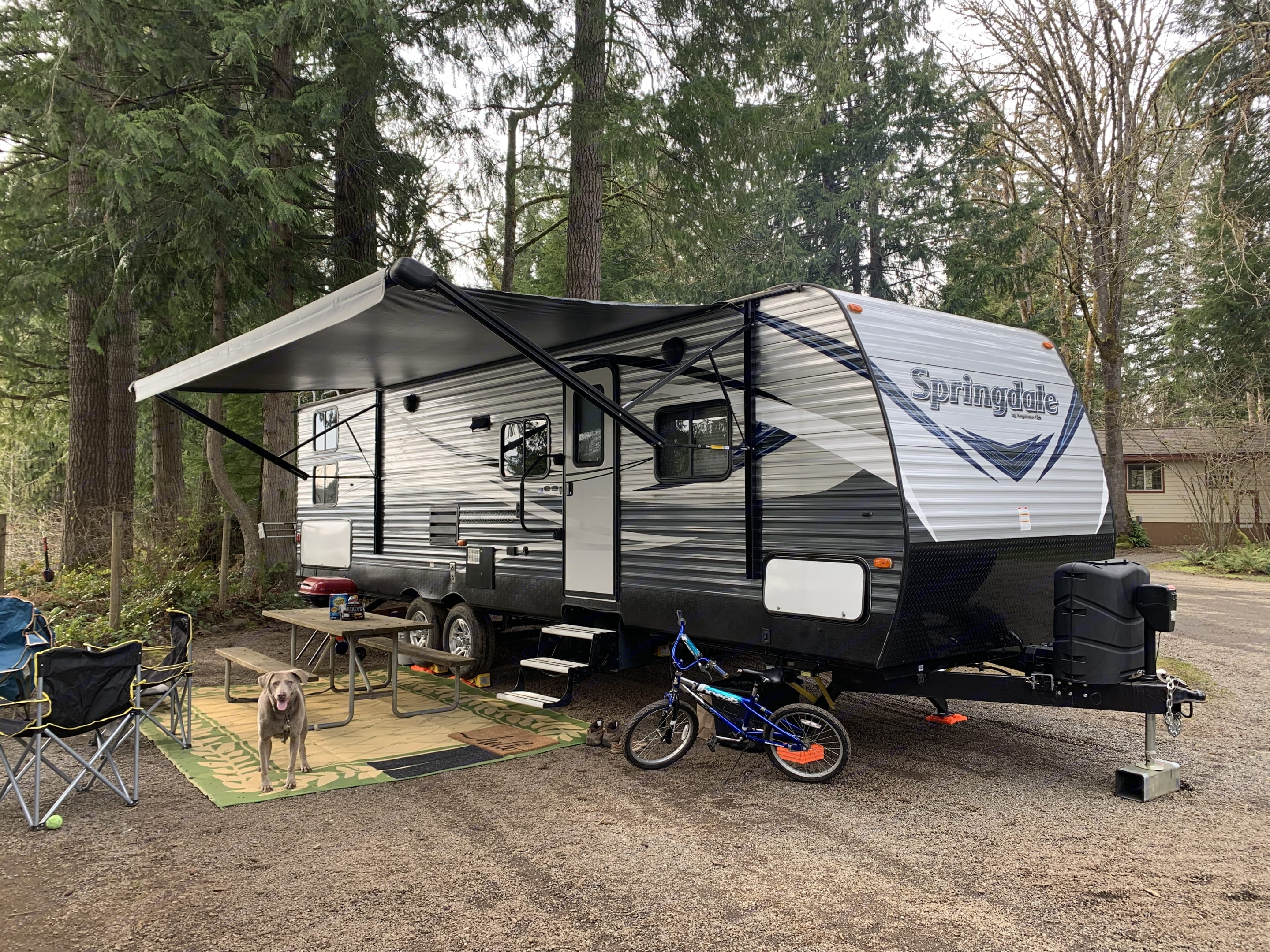 All set up at a campsite, ready to have a great time!. Keystone Springdale 2018